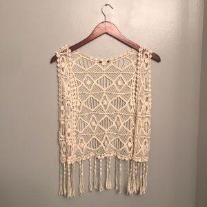 $10 or FREE in bundle Boho macrame fringe vest